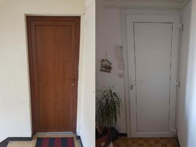 Porte d'entrée bi color Blanc intérieur et chêne dorée extérieur